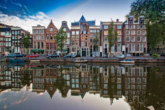 Reflections in the Amsterdam canal Stock Photography