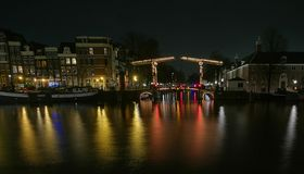 Reflections on Amsterdam canals Royalty Free Stock Photography