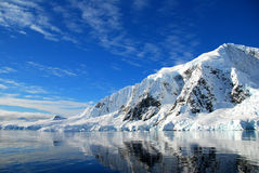 Reflections of antarctic mountain landscape. Crisp reflections in sea of antarctic landscape Royalty Free Stock Images