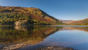 Reflections of Autumn Colours in a Snowdonia Lake Stock Photo