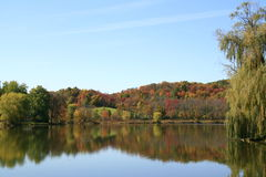 Reflections of Autumn in New York. Beautiful reflections of the multicolored fall foliage, on a small lake in upstate Royalty Free Stock Images