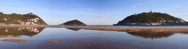 Reflections on the beach of La Concha, San Sebasti Royalty Free Stock Photography