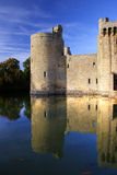 Reflections of Bodiam Castle. In front of blue skys royalty free stock images