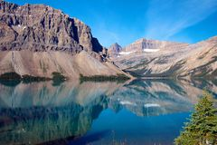 Reflections on Bow Lake. Amazing lake scenery of Bow Lake, Alberta, Canada Stock Image