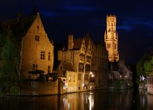 Reflections in Bruge's canals Stock Photos