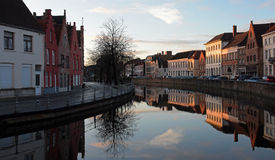 Reflections in Bruges canal Stock Photography