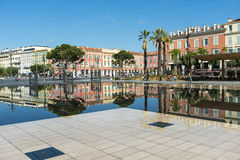 Reflections buildings Promenade du Paillon Nice royalty free stock image