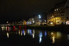 Nightime Reflections of Strasbourg, France Royalty Free Stock Photography