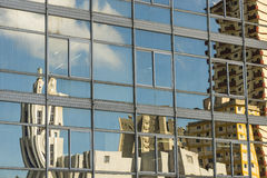 Reflections of buildings Vedado Havana. Reflections in glas facade of residential buildings in Vedado, Havana, Cuba Royalty Free Stock Photography