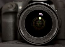 Reflections in a camera lens Royalty Free Stock Photos