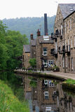 Reflections in the Canal. The Rochdale Canal  at Hebden Bridge,  a town within the Calderdale borough of West Yorkshire, England Stock Photo