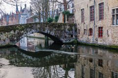 Reflections in the canal in Bruges, Belgium Royalty Free Stock Photos