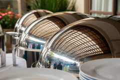 Reflections on Catering Trays stock images
