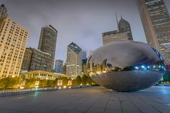 Reflections in Chicago`s Cloud Gate stock photo