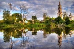 Reflections of church Royalty Free Stock Image