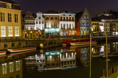 Reflections of colorful buildings in a canal in Ghent Royalty Free Stock Photos