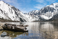 Reflections in Convict Lake in Sierra Nevadas California Stock Images