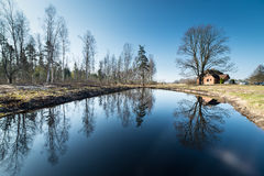 Reflections of country house in the pond Stock Image