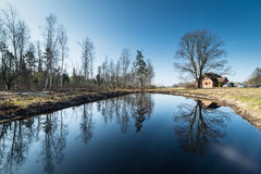 Reflections of country house in the pond Royalty Free Stock Photos