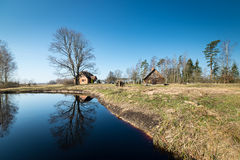 Reflections of country house in the pond Royalty Free Stock Photography