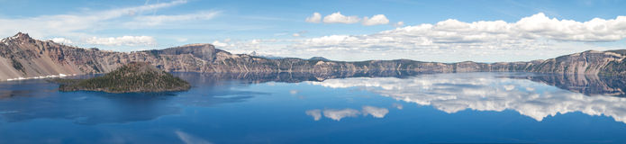 Reflections in Crater Lake Panorama Royalty Free Stock Image