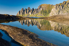 Reflections of the Devils Teeth, Tungeneset on Senja. Reflections of the Devils Teeth, Tungeneset, Senja, Norway Royalty Free Stock Photos