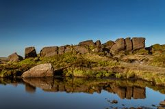 Reflections on Doxey pool on The Roaches in the Peak District National park. stock image