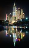 Reflections of Dubai Marina towers, Dubai, United Arab Emirates stock photos