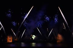 reflections of earth Disney night fireworks royalty free stock photography