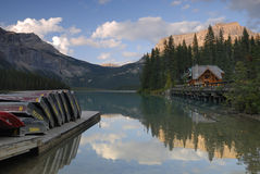 Reflections in Emerald Lake in Canadian Rockies Stock Image