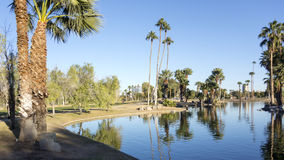 Reflections in Encanto Park Lake, Phoenix, AZ Stock Images