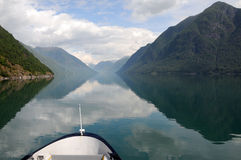 Reflections in Fjaerlandsfjord, Norway Stock Images