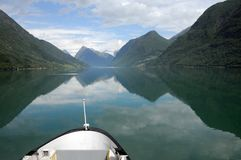 Reflections in Fjaerlandsfjord, Norway Stock Photo