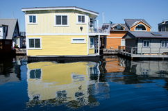 Reflections in float house village in Victoria -4 Royalty Free Stock Image