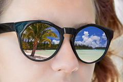 Reflections in a girl sunglasses Stock Photography