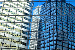 Reflections in Glass Building. Reflections of Downtown Denver skyscrapers Royalty Free Stock Images