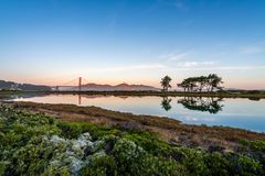 Sunrise over the Golden Gate Bridge stock images