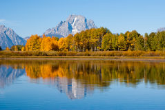 Reflections of Grand Tetons in Fall Royalty Free Stock Photography