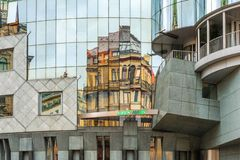 Reflections in Haas Haus, Stephansplatz, Vienna, Austria stock image