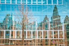 The Reflections in Hafencity Hamburg. Reflections of Speherstadt in hafencity Hamburg in modern buildings Royalty Free Stock Images