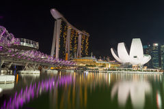 Reflections of the Helix Bridge, Marina Bay Sands, Singapore Art Science Museum Royalty Free Stock Photos