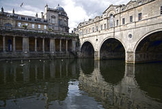 Reflections of the historic City of Bath. Reflections of Pulteney Bridge in Bath Royalty Free Stock Photography