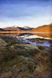 Reflections in an icy Scottish loch Stock Photos