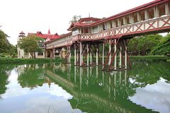 Reflections of the impressive architecture on the pond of Sanam Chan Palace, Thailand stock photo