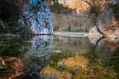 Reflections In The Lake At Monasterio De Piedra, Zaragoza, Aragon, Spain Royalty Free Stock Photo
