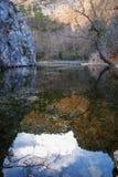 Reflections In The Lake At Monasterio De Piedra, Zaragoza, Aragon, Spain Stock Images