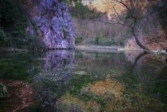 Reflections In The Lake At Monasterio De Piedra, Zaragoza, Aragon, Spain Stock Photos