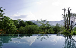 Reflections on the infinity pool Stock Images