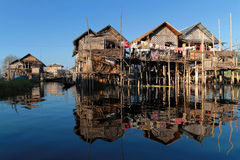 Reflections on Inle Lake Royalty Free Stock Photography