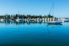 Reflections La Guancha Ponce Puerto Rico. Boats reflection in the harbor bay la guancha Stock Image